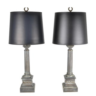 1950s Vintage Neoclassical Column Lamps - a Pair