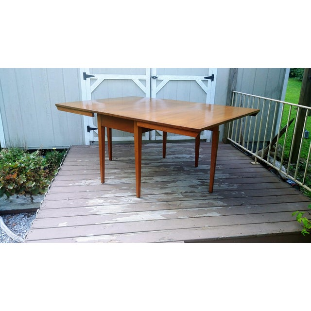 Vintage Mid-Century Modern Solid Pecan Shaker Style Drop Leaf Dining Table For Sale - Image 13 of 13