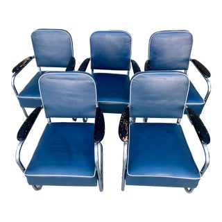Kem Weber Design Lloyd Manufacturing Royal Chrome Chairs - Set of 5 For Sale