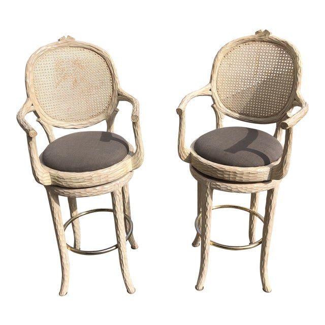 Hollywood Regency Faux Bois Cream Caned Swiveling Stools** - a Pair For Sale