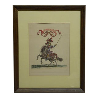 """""""Summus Caftrorum Pratectus Gramontius"""" Framed & Matted Hand-Colored Engraving Print For Sale"""