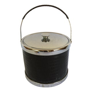 Mid-Century Modern Black Leather & Chrome Ice Bucket with Tongs