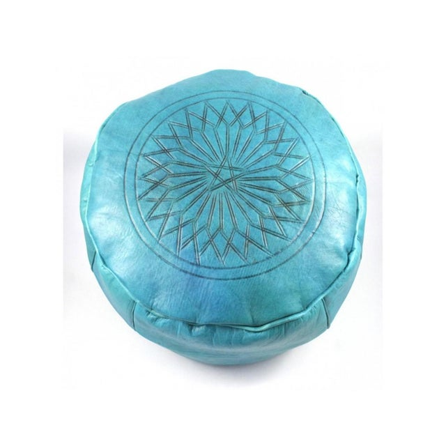African Turquoise Moroccan Leather Pouffe Ottoman For Sale - Image 3 of 5