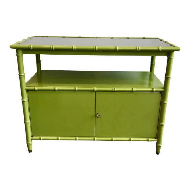 Chinoiserie Avocado Green Faux Bamboo Cabinet/Bar Cabinet For Sale
