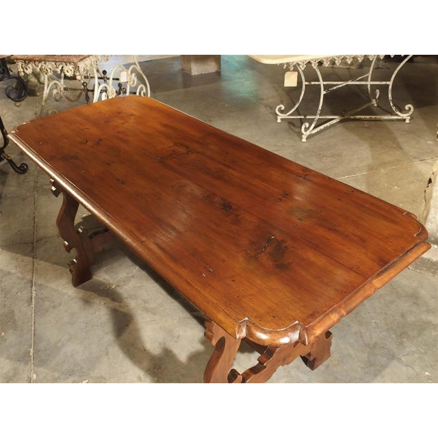 19th Century 19th Century Tuscan Walnut Table With Shaped Wooden Stretchers For Sale - Image 5 of 13