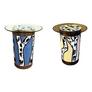 Pop Art Birch Tree Side Tables - A Pair