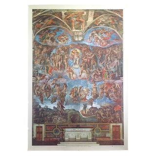 "Michelangelo Rare Vintage 1979 "" Sistine Chapel Ceiling "" Lmtd Edtn XL Monumental Italian Lithograph Print Poster For Sale"