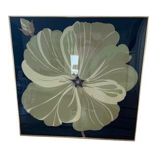 1980s Framed Large Beige Flower Print For Sale