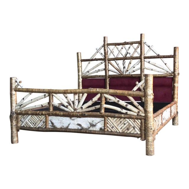 Last Call 1998 Rustic Adirondack Peter Winter Birch Bed Frame Sculpture For Sale