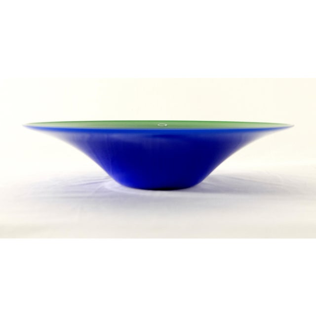 Italian V. Nason & C. , Italy Blue and Green Blown Murano Glass Bowl For Sale - Image 3 of 6