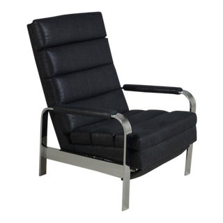 Chromium Steel Framed Reclining Armchair, 1970s For Sale