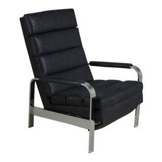 Chromium Steel Framed Reclining Armchair, 1970s For Sale