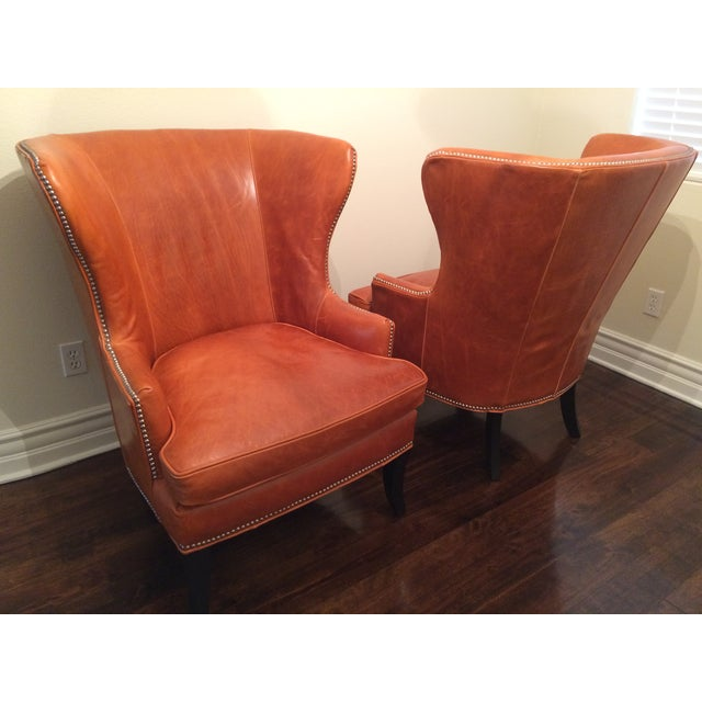 Traditional Williams Sonoma Chelsea Leather Wing Chairs - Pair For Sale - Image 3 of 6