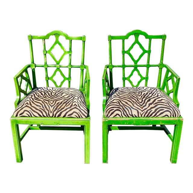 Vintage Hollywood Regency Green Pagoda Chairs with Zebra Fabric - a Pair For Sale