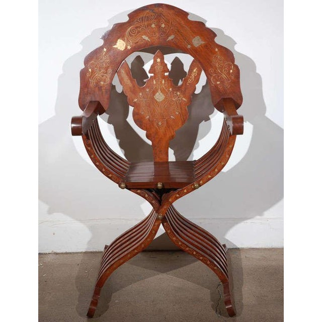 Gold Moorish Syrian Brass Inlaid Armchair For Sale - Image 8 of 8