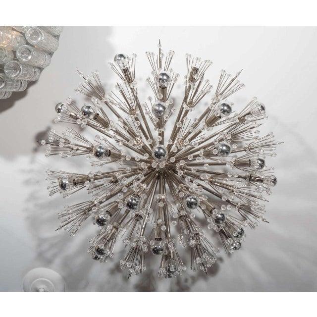 Venfield Flush Mount Crystal and Polished Nickel Starburst Light Fixture For Sale - Image 4 of 4