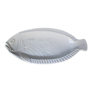 1980s Vintage White Fish Platter For Sale
