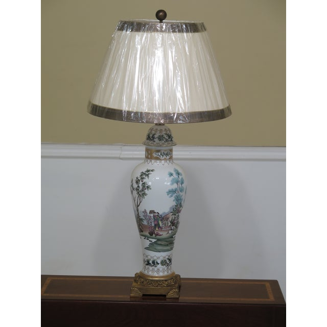 Chelsea House Chinoiserie Decorated Porcelain Table Lamp For Sale - Image 11 of 11