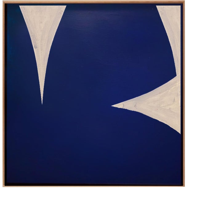 Original Framed Blue and White Abstract Painting by Brooks Burns For Sale