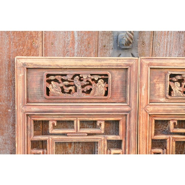 Vintage Asian Lattice Carved Window Panels, Set of Two For Sale - Image 4 of 9