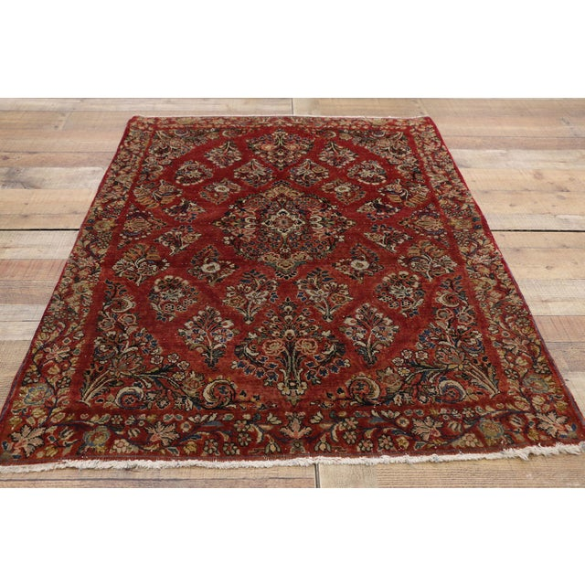 Textile Antique Sarouk Persian Rug With Traditional Style - 03'04 X 04'08 For Sale - Image 7 of 10