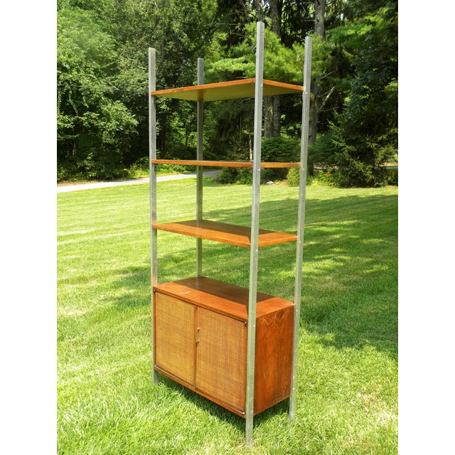 Vintage Mid-Century Chrome and Walnut Wall Unit For Sale - Image 9 of 9