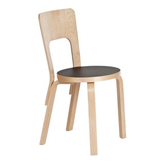 Authentic Chair 66 in Lacquered Birch with Linoleum Seat by Alvar Aalto & Artek For Sale