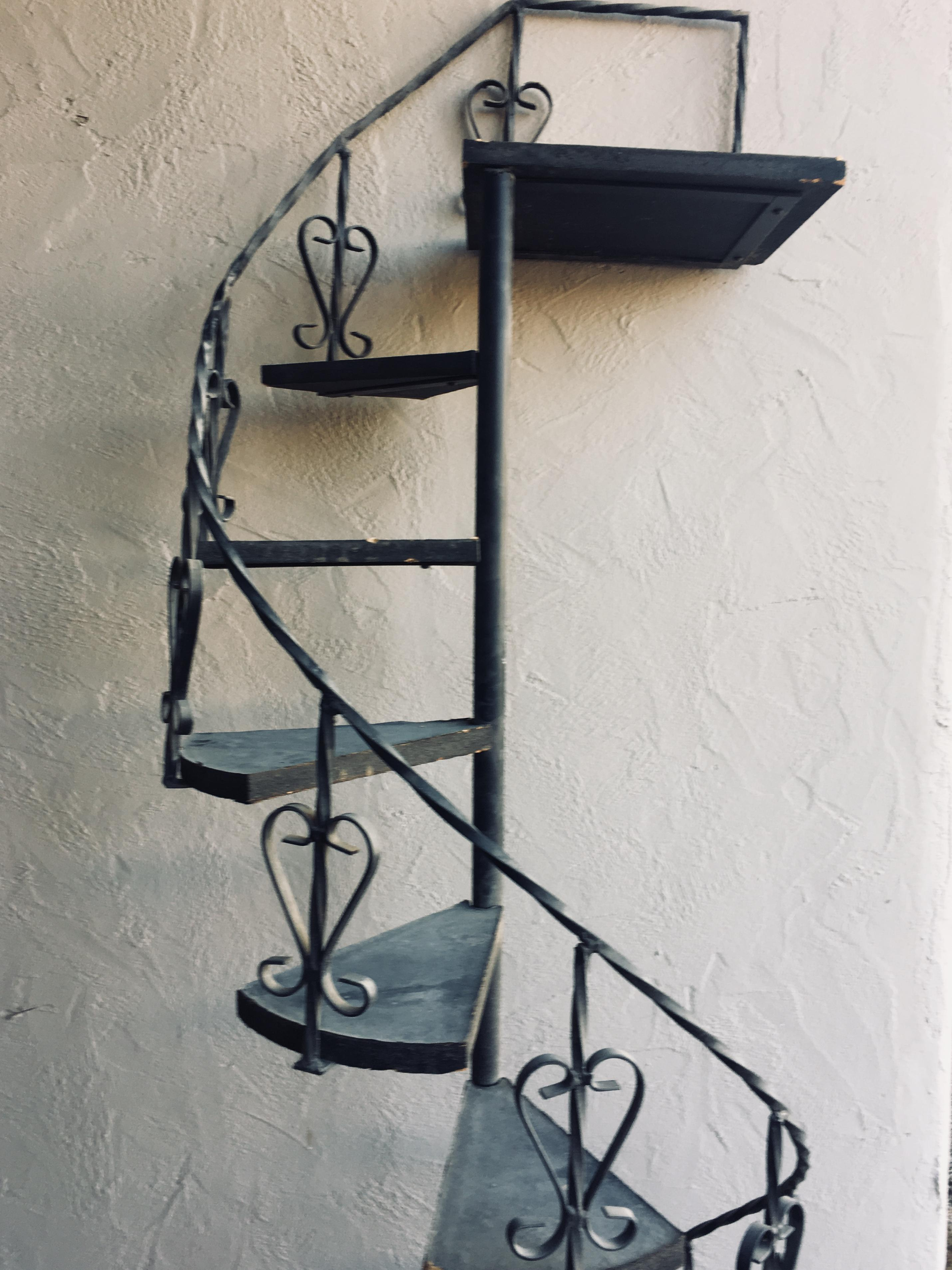 Mid 20th Century Vintage Wrought Iron Spiral Staircase Plant Stand Garden  Art For Sale   Image