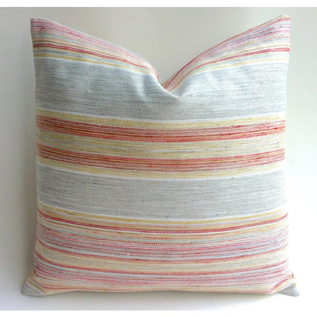 Coral & Grey Stripe Euro Sham Pillow Cover - Image 2 of 6