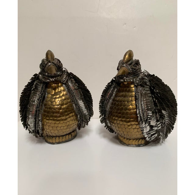 Sergio Bustamante Brutalist Owl Bird Chicken Sculptures - a pair. These birds are constructed out of cut tin and brass (or...