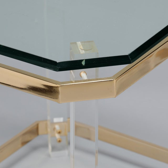 1970s Pair Mid Century Lucite Brass and Glass Side Tables For Sale - Image 5 of 11