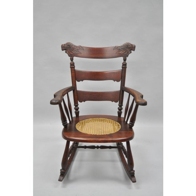 Antique Carved Mahogany Eagle Rocking Chair Rocker Victorian Figural Cane Seat - Image 2 of 12