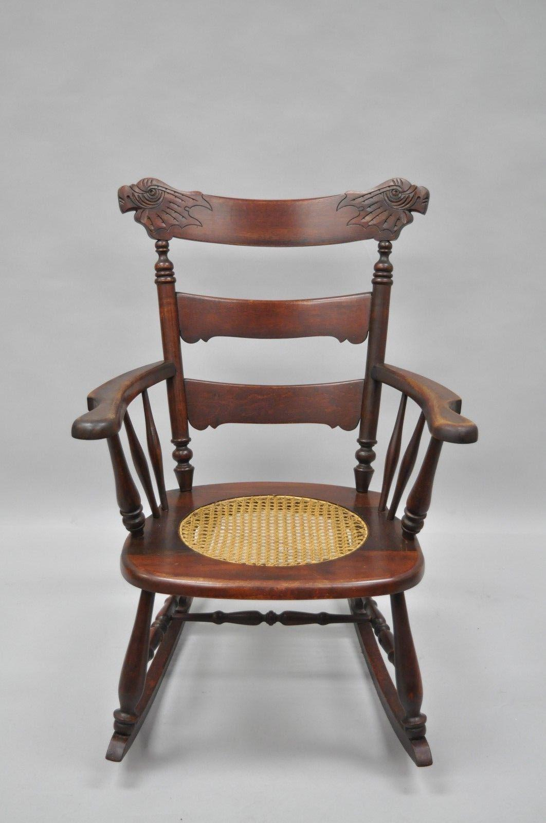 Attrayant Item: Antique Carved Mahogany Eagle/Bird Rocking Chair Details: Solid Wood  Frame,