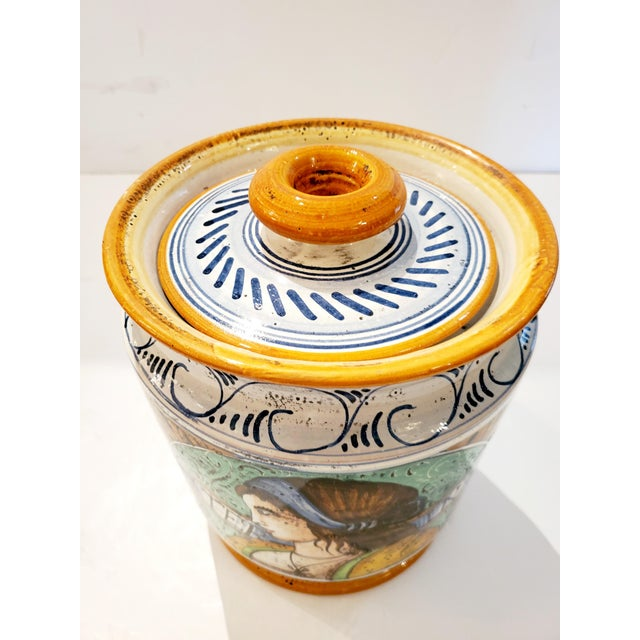 French Provencal Ceramic Painted Lidded Apothecary Jars -A Pair For Sale - Image 3 of 13