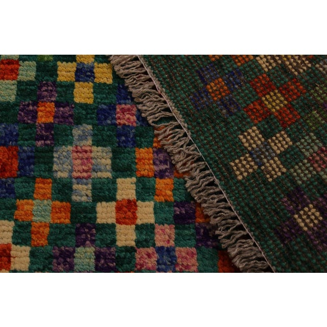 "Balouchi Ali Green/Ivory Wool Rug - 4'11"" X 6'4"" For Sale In New York - Image 6 of 8"