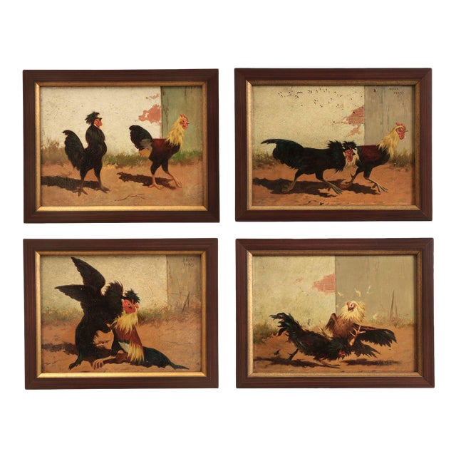 Set of Four William Baird Barbizon Paintings of Cocks Fighting For Sale