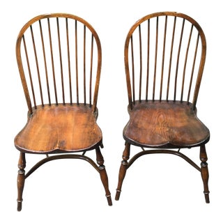 1990s Antique Reproduction English Dining Chairs- a Pair For Sale
