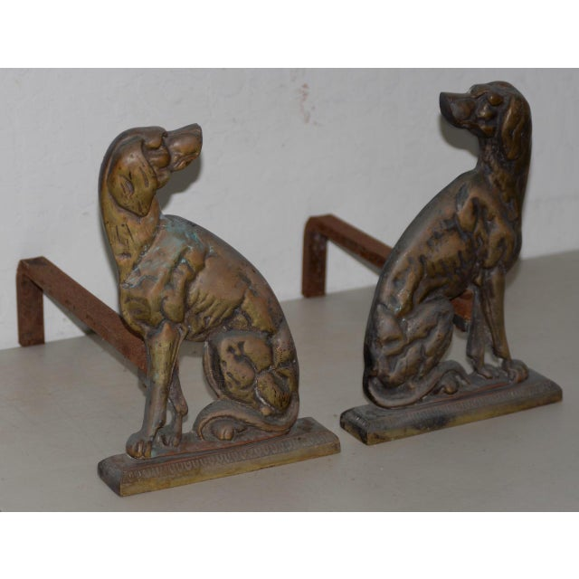 """19th Century Cast Iron """"Shorthaired Pointer"""" Andirons C.1880s - a Pair For Sale - Image 4 of 9"""