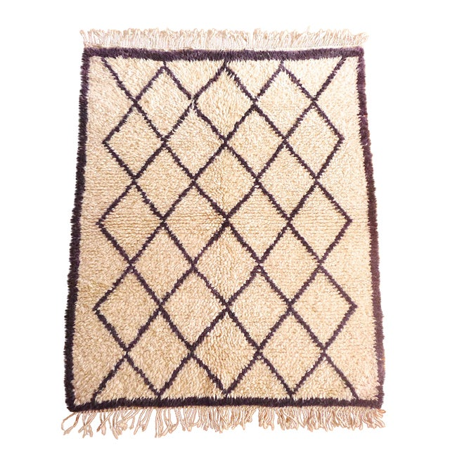 Moroccan Beni Ourain Purple Rug - 3′10″ × 5′1″ - Image 1 of 6