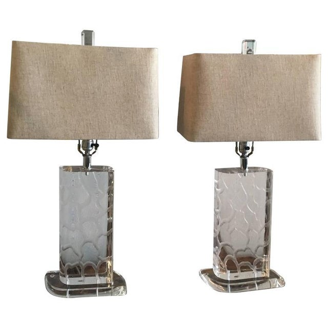 Van Teal Lucite Table Lamps - a Pair - Image 11 of 12