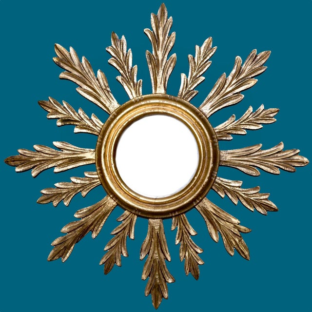 French Mid-Century Carved Giltwood Sunburst Mirror - Image 2 of 3