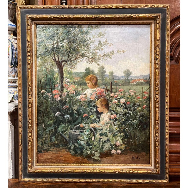 19th Century French Oil on Canvas Painting in Carved Frame Signed Haag For Sale - Image 13 of 13