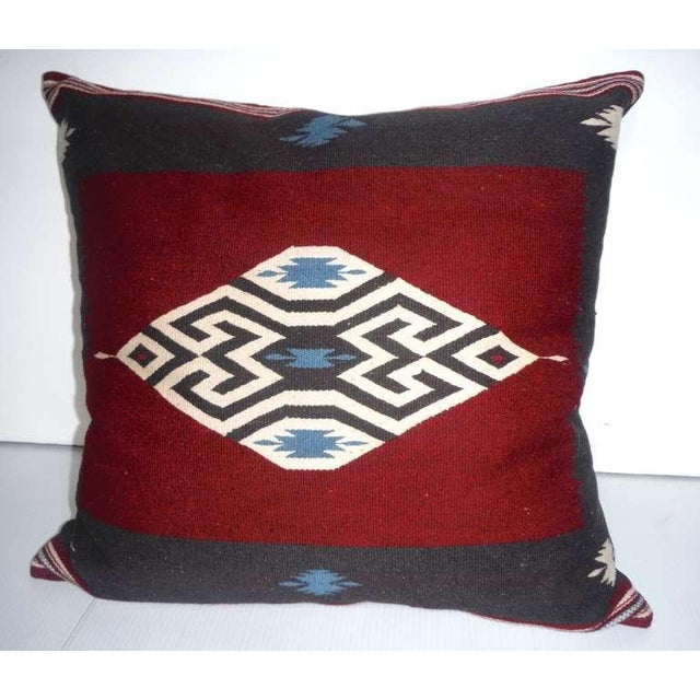 Vibrant and geometric early Texcoco Indian weaving pillow with a black cotton linen backing. These colors are amazing! The...