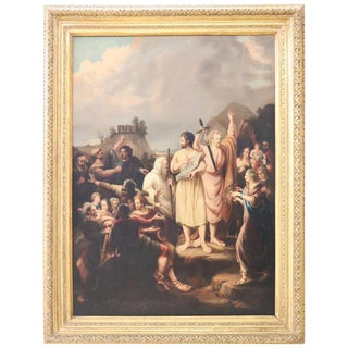 19th Century Italian Great Oil Painting on Canvas Biblical Scene With Frame For Sale