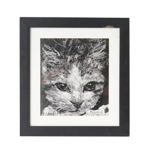 Black and White Cat Portrait Painting For Sale