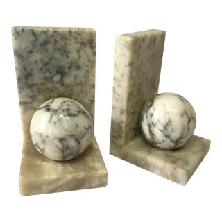 Art Deco Marbleized Alabaster Bookends - a Pair For Sale