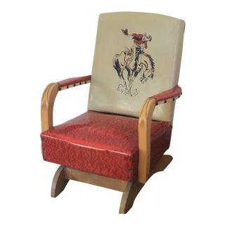 1950's Vintage Cowboy Child's Vinyl Rocking Chair For Sale