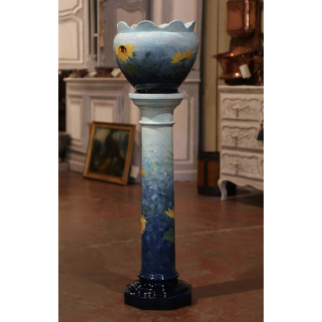 Blue 19th Century French Hand Painted Ceramic Planter and Stand Signed D. Massier For Sale - Image 8 of 13