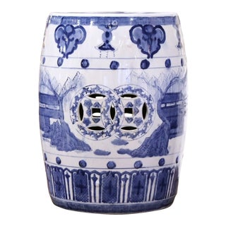 Vintage Asian Blue and White Painted Porcelain Garden Stool For Sale