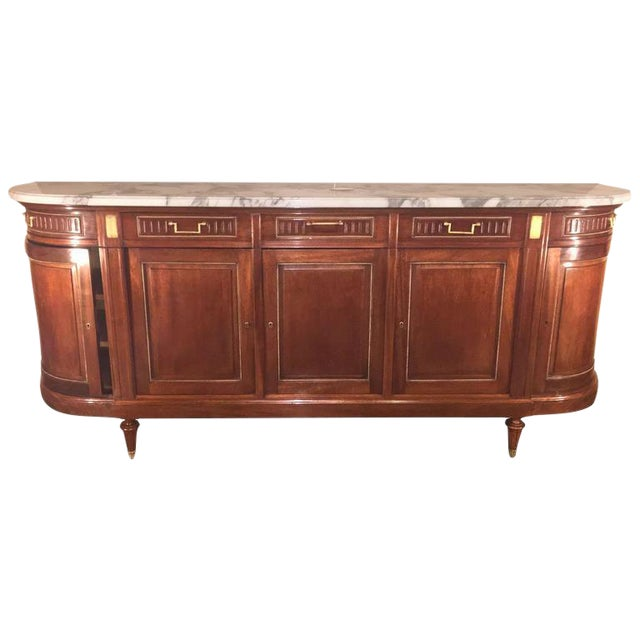 Maison Jansen Louis XV/ Directoire Style Marble Top Mahogany Sideboard - Image 1 of 9